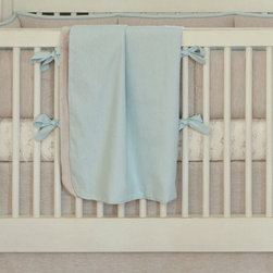 Light Blue Linen Crib Blanket -