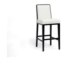 Baxton Studio - Baxton Studio Theia Black Wood and Cream Leather Modern Bar Stool - Dine in style! Our Theia Bar Chair is a designer bar stool that will turn many heads.  Made in China with a black wood frame, cream bonded leather seat, foam cushioning, and non-marking feet. Theia is fully assembled for your convenience. To clean, wipe with a damp cloth immediately before drying.  A matching dining chair's available (sold separately). seat'sions: 30 inches high x 18.5 inches wide x 16.5 inches deep