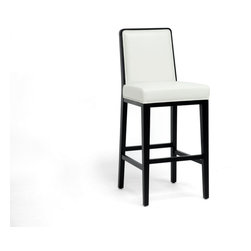 Baxton Studio - Baxton Studio Theia Black Wood and Cream Leather Modern Bar Stool - Dine in style! Our Theia Bar Chair is a designer bar stool that will turn many heads.  Made in China with a black wood frame, cream bonded leather seat, foam cushioning, and non-marking feet. Theia is fully assembled for your convenience. To clean, wipe with a damp cloth immediately before drying.  A matching dining chair is also available (sold separately). Seat dimensions: 30 inches high x 18.5 inches wide x 16.5 inches deep