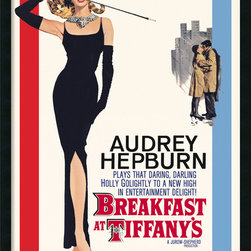 "Amanti Art - ""Audrey Hepburn, 'Breakfast at Tiffany's'"" Framed with Gel-Coated Finish - If you love Old Hollywood glamour, this poster from ""Breakfast at Tiffany's"" is a must-have. In the film, Audrey Hepburn plays Holly Golightly, a society gal with a mysterious past who forms a friendship with her neighbor Paul, a writer. Framed and ready for your wall. Made in the USA."