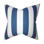 """The Pillow Collection - Acantha Stripes Pillow Blue - Reinvent your home in time for the new year with this captivating accent pillow. This throw pillow features a classic stripe pattern in shades of white and blue. This 18"""" pillow offers a fresh look to your sofa, chair or seat. Perfect for contemporary home, this square pillow is made of 100% soft cotton material."""