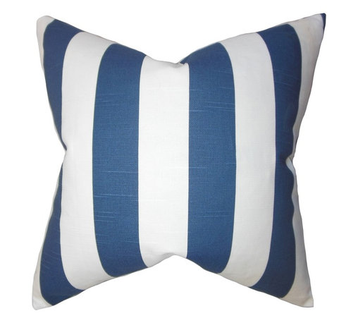 """The Pillow Collection - Acantha Stripes Pillow Blue 18"""" x 18"""" - Reinvent your home in time for the new year with this captivating accent pillow. This throw pillow features a classic stripe pattern in shades of white and blue. This 18"""" pillow offers a fresh look to your sofa, chair or seat. Perfect for contemporary home, this square pillow is made of 100% soft cotton material."""