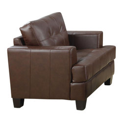 Adarn Inc - Samuel Leather Armchair w/ Tufted Back Cushion, Dark Brown, Not Include Ottoman - The Samuel group will give your contemporary living room a stylish update. The pieces are crafted of sophisticated bonded leather, over a solid hardwood frame with webbed backs and sinuous spring bases for support and durability. These pieces feature plush tufted attached back cushions, and deep t-cushions on the seat for cool comfort. Sleek track arms and square tapered wood legs complete the look. These simple pieces are easy to blend with your home decor, and will help you create the comfortable contemporary style you desire.Chair:42''L+39''W+33''H.Ottoman:30''L+24''W+19''H