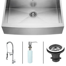 Vigo - VIGO Farmhouse Stainless Steel Kitchen Sink Faucet and Dispenser VG15007 - VIGO-Stainless Steel-Kitchen Sinks Kitchen Sets are fully undercoated and padded with multi layer sound eliminating technology which also prevents condensation.  All Vigo kitchen sinks guaranteed to never rust.  Faucet features spray face that resists mineral buildup and is easy-to-clean. Vigo finishes resist corrosion and tarnishing, exceeding industry durability standards .  Drip-free ceramic disc cartridge.
