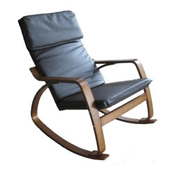 International Caravan - Wooden Rocking Chair in Black (Chocolate) - Choose Upholstery: ChocolateFaux leather upholstered seat. Made from bentwood. Walnut wood finish. Assembly required. 38 in. L x 26 in. W x 36 in. H (20 lbs.)Perfect for game rooms, living areas and bedrooms
