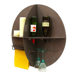Contemporary Wall Wine Bar - This space-saving, this bar is a wall mounted station for your wine and essential accoutrements. Made from durable pressed steel, the bar incorporates storage for six bottles of wine, a rack for six glasses, and shelves for linens, bottle openers, and anything you want to keep handy for the perfect pour. Each of these storage and display elements is incorporated into the hemispherical design for a streamlined, minimalist appeal that will coordinate with any decor.