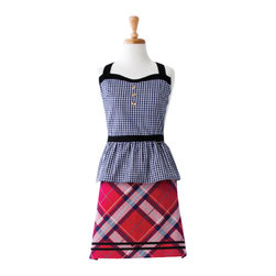 Ladelle - Khloe Kitchen Apron - The Khloe. A little bit of houndstooth mixed with a tartan plaid. This collection brings a fresh new vibe to kitchen textiles and includes an apron, oven mitt, pot holder and kitchen towels. All are available separately.