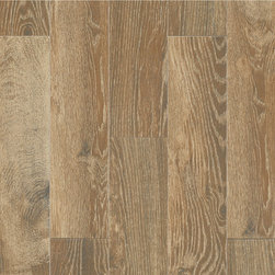 Style Selections Natural Timber Cinnamon Glazed Porcelain Floor Tile - I'm a wood floor girl through and through. But my husband worries about wood flooring in bathrooms and kitchens, as they're exposed to so much water (and heat in the kitchen). To avoid any warping or expanding, we've settled on tile that looks like wood. I was skeptical at first because faux wood never looks quite right, but these tiles actually do look like wood! This natural, reclaimed finish is perfect for my beachy, natural kitchen.