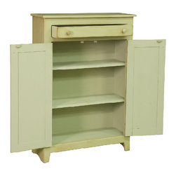 Chelsea Home - 3-Shelf Pie Safe - Pennsylvania dutch style. Handcrafted. Two long cabinet doors. Slim sliding drawer. Robust and customizable to fit any home. Tack slides on feet to prevent scuffing and easy mobility. Made from premium grade eastern white pine. Celery finish. 36 in. W x 13 in. D x 48 in. H (55 lbs.). Made in U.S.A. No assembly requiredChelsea Home Furniture proudly offers American made heirloom quality furniture. What makes heirloom quality furniture? Its knowing how to turn a house into a home. Its creating memories. Its ensuring the furniture you buy today will still be the same 100 years from now! Every piece of furniture in this collection is built by expert furniture artisans with a standard of superiority that is unmatched by mass-produced composite materials imported from Asia or produced domestically. In addition, our craftsmen use tongue-in-groove construction and screws instead of nails during assembly and dovetailing, both painstaking techniques that are hard to come by in todays marketplace. So adorn your home with a piece of furniture that will be future history, investment that will last a lifetime. Screws, rather than nails or staples used to hand assemble furniture providing greater durability and strength.