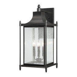 Savoy House - Savoy House 5-3453-BK Dunnmore Wall Mount Lantern - Dunnmore has classic American styling with clean lines, a Black finish and rustic Seeded glass.