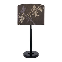 Lite Source - Lite Source Ketaki Contemporary Table Lamp XSL-ZRB/D05612 - A brown and purple botanical themed print set against a classic drum shade allows for plenty of visual interest from this lite source contemporary table lamp. From the ketaki collection, this design also features a metal base finished in a rich dark bronze hue that is sure to please.