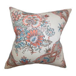 The Pillow Collection - Laelia Floral Pillow Coral - This playful and trendy throw pillow is a perfect way to brighten up your space. This accent pillow is decorated with a floral pattern in shades of coral, blue and white. This fun toss pillow looks great on your sofa, couch or bed especially when paired with solids. Made of 100% high-quality linen material.