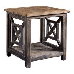 Uttermost - Uttermost Spiro Reclaimed Wood End Table 24263 - Solid, reclaimed fir wood hand finished in brushed black with natural wood undertones. Top is salvaged fir lumber, sun faded and left natural with only a light gray glaze.