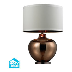 Dimond Lighting - Palacial 1-Light Table Lamp in Bronze Plated Glass, Coffee Plated Base - Dimond Lighting HGTV273 Palacial 1-Light Table Lamp in Bronze Plated Glass with Coffee Plated Base