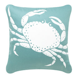 Crab Modern Eco Coastal Throw Pillows, Shell White/Aqua - Decorative throw pillows hand printed with a feisty crab create a perfect accent for coastal living. These modern pillows in elegant shell white on aqua or seagrass turn vivacious sea life into textile art. Designed, hand printed, and fabricated in America.