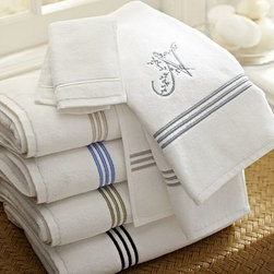 Grand Embroidered Bath Towel, Lapis Blue - Our plush white towels are loomed in Portugal of long-staple cotton to a dense 700-gram weight.Pure cotton.Detailed with a triple satin-stitched border; washcloth has a single border.Oeko-Tex certified, the world's definitive certification for ecologically safe textiles.See available colors below.Monogramming is available for an additional charge.Machine wash.Catalog / Internet Only.Made in Portugal.