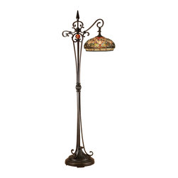 Dale Tiffany - Dale Tiffany TF13065 Briar Dragonfly Downbridge Floor Lamp - Shade: Hand Rolled Art Glass