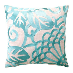 DL Rhein Chrysanthemum Robin's Egg Embroidered Pillow - A subtle touch of floral through a monochromatic throw pillow is great for those who are not so sure about the trend.