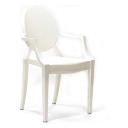 Philippe Starck Style Louis Ghost Chair, White - This classic chair done in a surprising way would be perfect when paired with a farmhouse table.