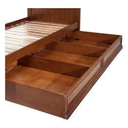 "Lea Industries - Lea Elite Expressions Dual Function Underbed Storage - KD in Rootbeer Color - Lea Elite Expressions is a very contemporary style with simple design influences that accentuate any setting. The finish is a rich ""root beer"" color finish with matched cherry veneers on case tops and beds, adding to the design of the high end contemporary style. Heavy drawer frames not only add weight, but act as handles to open drawers and help create a clean look to Expressions. Multiple unique sleep options and storage possibilities add style and function. Expressions is a versatile group that offers a lasting style that works for youth, teen and even smaller master bedroom settings."
