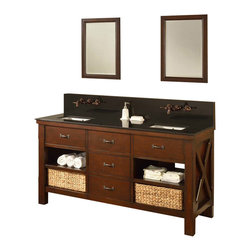 """J and J Vanities - 70"""" Espresso Xtraordinary Spa Premium Double Vanity Sink Cabinet Black Granite - This is the pinnacle of furniture style bath vanity cabinet. It combines the casual feel of a cabin, to the functionality demanded in an urban environment. It has the most solid wood used in a furniture style vanity in its class, and completed with the highest end soft closing mechanisms on all hinges and drawer glides. And we did not stop there, the drawer box panels, are finger-joined solid wood; and the panels, are joined with dove-tailed joinery. The handsome looking basket that tailored to this Xtraordinary vanity line is also included. Oh, have we mentioned the infinity sink inserts are included as well (US Utility Patent Pending)? This special water feature is included in the Xtraordinary vanity line. And it takes just seconds to convert normal undermount sinks to infinity sinks, something you can only imagine in a spa.ᅠThe richness of the light espresso color cabinet, combined with the complimenting black granite. The 3 over-sized drawers flanked with 4 open shelves. Extra deep counter for the extra counter space.ᅠTo top it off, we make it wall mount faucets ready (US Utility Patent Pending), we make the installation of wall mount faucet all within the cabinet so you do not need to mess with the wall. For the first time, you will be able to enjoy a designer level bathroom with wall mount faucets on a furniture style vanity. All at a drastic cost saving. Here are some of the important facts before your purchase. All doors leading to the bathroom need to be at least 25"""" wide.The rough in plumbings (hot/cold water supplies) need to be 24-28"""" above the floor, 40"""" drain to drain. Danze Rough-in valve model D106800BT required as the system pair with this rough in valve therefore can be installed and ready to use in minutes.The Xtraordinary Premium bathroom vanity cabinet drawers are solid wood (front, back and sides) with dove-tailed joinery. Mission double vanity i"""