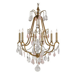 Camdyn- Chandelier - Classic French Style Chandelier with Gilded Iron Frame Adorned with White and Rose Quartz Prisms and Crystal Swags