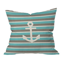 DENY Designs - Bianca Green Anchor 1 Throw Pillow, 18x18x5 - Hard to say whether it's the simple, iconic design or strikingly chic color palette that makes this nautical pillow so appealing. The pattern is repeated on both the front and back of the woven polyester case, which comes complete with insert. Perfect for the beach, the bedroom, the den or wherever the tides may take you.