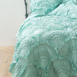 Rivulets Quilt, Mint - Pintucked duvet sets are always in style, but I love the unexpected play on a typical pintuck with these ruffle-like scales.