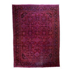 West of Hudson - Vintage Overdyed Persian Mahal Wine Red Fuchsia Rug, 10.3x14 Ft. - Handknotted one of a kind over-dyed rug with vibrant colors. West of Hudson is proud to offer authentic vintage and new hand knotted rugs that that are carefully selected for our exclusive overdye collection. Each rug is a unique work of art. 100% handmade from start to finish.