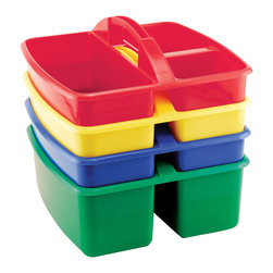 Ecr4kids - Ecr4Kids Kids Children 4 Piece Small Art Caddy - Assorted, 3 Pack - Small plastic caddy features 3 compartments. Perfect for storing art supplies. Caddies interstack when not in use. Sold in three 4 packs, 12 caddies total.