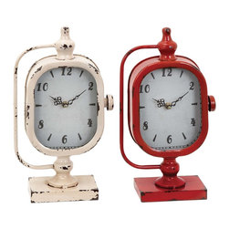 Clock with Solid Construction in Worn Out Look - Set of 3 - If you?re one of those who love to add a dash of conventional bit to the otherwise modern decor, this assorted set of metal table clocks is the perfect pick for you. These clocks are made of sturdy metal for long lasting durability and are available in bright red and sober cream color. These colors perfectly suit any interior backdrop and are perfect to be kept on wooden furniture. Keep it near your bedside for keeping a track of time or place it on your study table. Whichever is the place, these clocks are sure to assist you in being disciplined. Ideal for any traditional or modern set up, these clocks have broad dials to clearly and neatly display time even from a distance. It comes with a following  dimension