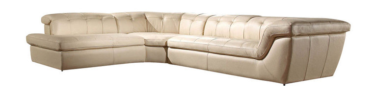 J&M Furniture - 397 Beige Full Tufted Top Grain Italian Leather Sectional Sofa - The 397 sectional sofa is a beautiful example of today's modern furniture. This sectional sofa comes fully upholstered in a beautiful beige top grain Italian leather. The sofa features a tufted design that adds to the overall look. High density foam is placed within the cushions for added comfort. For that extra touch of relaxation the sectional has adjustable headrests. The ottoman shown does not come included with the pricing.