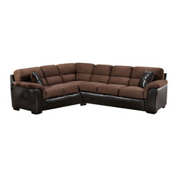 Chelsea Home - 2-Pc McLean Sectional Set - Includes left arm facing sofa and right arm facing sofa with toss pillows. Ottoman not included. Medium seating comfort. Attached seat and back cushions. Nailed, stapled and corner blocked frame. Cover: San Marino mocha/searider chocolate. Fabric content: 78% poly vinyl chloride, 2% polyurethane, 20% TC backing/100% polyester. 1.5 dacron wrapped foam cores. Constructed with sinuous springs to provide no sag seating. Made from solid hardwoods and plywoods. Made in USA. No assembly required. Left arm facing sofa: 98 in. L x 39 in. W x 39 in. H (175 lbs.). Right arm facing sofa: 83 in. L x 39 in. W x 39 in. H (175 lbs.). Overall: 122 in. - 98 in. L x 39 in. W x 39 in. H (350 lbs.)