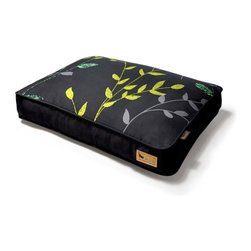 P.L.A.Y. - P.L.A.Y. Greenery Rectangular Bed Slate Grey/Dark Grey Large - Pets love romping through anything that's green and growing. Now they can sleep amongst the leaves, too. These simple and stylish designs look great in any home. And they look cozy and comfortable beneath your dozing pet.  Greenery artwork created exclusively for P.L.A.Y. by Paris design studio Atelier LZC. 100% natural cotton covering is soft, breathable and allergy-free. Ultra-soft velvet material with custom-made P.L.A.Y. zipper. Furniture-grade craftsmanship and even-basting stitching ensures dog-years of use. Filled with the perfect amount and density of high-loft PlanetFill filler.  filler is made from 100% post-consumer certified-safe recycled plastic bottles. Machine washable and dryer friendly. Momo-approved and tested by her four-legged friends.