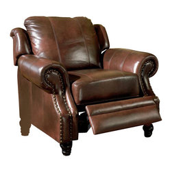 Coaster - Coaster Furniture Tri-Tone Brown Top Grain Leather Recliner Chair - Coaster - Recliners - 500663 - Traditional in style, elegant in design, the Coaster Furniture Leather Recliner possesses an inherent sophistication. It features a comfy pillow-style backrest, classic nail head trim and turned feet. This luxurious leather recliner exudes a vintage chic you're sure to enjoy for many years.