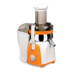 NUC Electronics - Kuvings NJ Series Centrifugal Juicer, Whilte/Orange - The Kuvings Centrifugal Juicer allows you to bring a healthy edge to your busy lifestyle in a matter of minutes. Powerful and efficient 350-watt motor with up to 11, 000 rpm processing speed makes it easy to process the toughest fibers to give you the maximum fruit/vegetable to juice ratio possible. The juicer is capable of 30-50 cups of continuous juicing without cleaning, all the while giving you the delicious refreshing beverage. The large feeding tube allows for the efficient processing of whole fruits and vegetables without pre-cutting. The safety locking arm system ensures safe operation and removable parts are easy to clean with included cleaning brush.