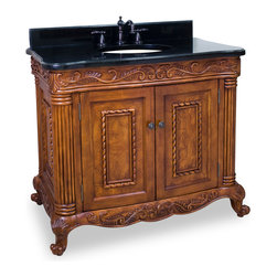 Hardware Resources - Lyn Design VAN012-T Wood Vanity - With a filagree of fronds carved right into the amber-colored wood, the details on this stunning vanity are what make it utterly unique. The classic shapeliness of the piece caters to your stylishness, while the practicality of the storage element will gratify the space-saver in you. The black-granite countertop is the perfect contrast to the delicate wooden vanity.