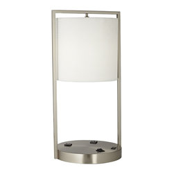 """Lamps Plus - Contemporary Riva Brushed Steel USB Port Table Lamp with Power Outlet - Contemporary table lamp. Brushed steel finish. Round base. Features 2 convenience outlets and a USB port at the base. Includes two 26 watt GU24 base CFL bulbs. Dedicated GU24 sockets. On-off switch on base. 8' black cord. Weighted base. Shade measures 10"""" across the top and bottom 10"""" high. Base is 12"""" wide and 11"""" deep. 24"""" high.  Contemporary table lamp.   Brushed steel finish.   Round base.   Features 2 convenience outlets and a USB port at the base.   Includes two 26 watt GU24 base CFL bulbs.   Dedicated GU24 sockets.   On-off switch on base.   8' black cord.   Weighted base.   Shade measures 10"""" across the top and bottom 10"""" high.   Base is 12"""" wide and 11"""" deep.   24"""" high."""