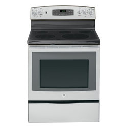 """GE - JB695SFSS 30"""" Free-Standing Electric Convection Range With Fifth Element Warming - The JB695 is a self-cleaning range with steam clean option letting you choose how to clean your oven The included storage drawer will give you a handy place to store baking sheetspans"""