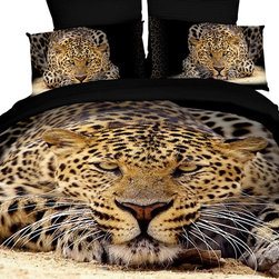 Dolce Mela - Safari Themed Luxury Bedding Duvet Covet Set Dolce Mela DM400, Queen - Experience the beauty of Dolce Mela's safari theme and decorate with spectacular pictures of chitas on a black background.  These realistic animal themed prints will transform the energy of your bedroom and create the funkiest setting.