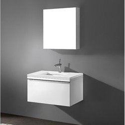 """Madeli - Madeli Venasca 30"""" Bathroom Vanity with Quartzstone Top - Glossy White - Madeli brings together a team with 25 years of combined experience, the newest production technologies, and reliable availability of it's products. Featuring sleek sophisticated lines Madeli vanities are also created with contemporary finishes and materials. Some vanities also feature Blum soft-close hardware. Madeli also includes a Limited 1 Year Warranty on Glass Vessels, Basin, and Counter Tops. Sleek, modern and sophisticated, the Venasca Collection features a wall hung cabinet in a rich Glossy White finish accented with decorative, polished chrome handles. A slight pull on the full length handles reveals spacious, full-extension, storage drawers with Blum soft-closing hardware. Add to this a luxurious polyurethane-protected finish and you end up with a stylish and functional piece worthy of being the centerpiece of your dream bathroom.Features Base vanity with Blum Soft Close hinge pull-out drawer, wall hung Glossy White finish Polished Chrome finish handle 1-1/4""""H Quartzstone Countertops come in White or Soft Grey finish Quartzstone Countertops come with single faucet or 8"""" widespread faucet holesCeramic undermount sink with overflow Faucet and drain are not includedNo backsplash Matching mirror and medicine cabinet available Limited 1 Year Warranty on Glass Vessels, Basin, and Counter Tops How to handle your counter Spec Sheet Installation Instructions"""