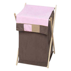 Sweet Jojo Designs - Soho Pink Hamper - The Soho Pink Hamper by Sweet Jojo Designs will add a designers touch to any child's room. This children's laundry clothes hamper has a wooden frame, mesh liner, and a fabric cover. The removable hamper body is secured to the wooden frame with corner loops and Velcro. The wooden stand folds flat for space-saving storage and the removable mesh liner is great for toting laundry.