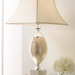 """Horchow - Mother-of-Pearl Lamp - Made of mother-of-pearl with silver-plated metal accents, this brilliant lamp lights the room even before it's turned on. 17""""Sq. x 32""""T. Imported. Champagne square bell shade is 9""""Sq. (top) x 17""""Sq. (bottom) x 11""""T. Uses one 150-watt bulb. Three-wa..."""