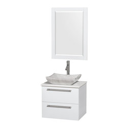 """Wyndham Collection - Amare 24"""" Bathroom Vanity Set Carrera Marble Sink, White, White Stone Top - Product Features:"""