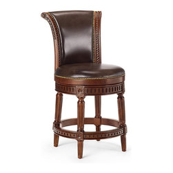 """Frontgate - Manchester Swivel Counter Height Bar Stool (24""""H seat) - Handcrafted of solid birch. Rich brown leather upholstery is produced in a multistage tanning process that uses only the hide's desirable top grain. Hand-applied brass nailhead trim accentuates the stool's masculine character. Brass-plated footrest and non-marring floor glides protect the beauty of the stool and your floors. The lifetime-guaranteed, 180˚ memory-return swivel smoothly rotates on stainless steel ball bearings. Enhanced with elegant details and individually applied nailhead trim, Manchestr'??s solid-birch hardwood frame is now available in four rich, hand-rubbed finishes. Top-grain leather or linen upholstery complements the stool's classic lines.  . . Hand-applied brass nailhead trim accentuates the stool's masculine character. . . Cocina Grey and Vintage White stools are upholstered in elegant linen fabric. Black and Mahogany stools are upholstered in rich brown leather. Arrives fully assembled."""