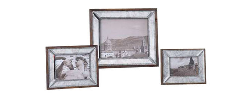 Uttermost Daria Antique Mirror Photo Frames S/3 - Antiqued bevel mirror frame accented with an aged pecan stained solid wood outer frame. Display those special photos in these sophisticated frames made of antiqued, beveled mirrors accented with an aged pecan stained solid wood outer frame. Holds photo sizes:4x6, 5x7 & 8x10. Sizes: sm-6x8x1, med-8x10x1, lg-12x14x1