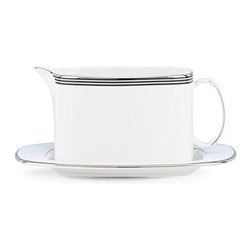 kate spade new york - kate spade new york Parker Place Gravy Boat with Stand - Both graphic and modern our Parker Place Gravy Boat with Stand by kate spade new york creates instant ambiance with rings of platinum, black and pale blue. Crafted in sleek white bone china, the gravy boat adds a playful sensibility to any table setting.