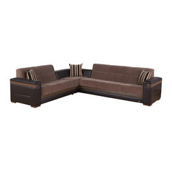 Istikbal - Moon Convertible Sectional Sofa in Troya Brown - Contemporary Moon Convertible Sectional Sofa in Troya Brown Finish is the next generation of sectional sofas with sleepers. Its offers two open up click cluck mechanisms, two large storage spaces to for all your bedding stuff.
