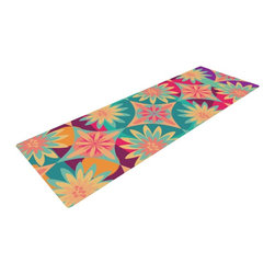 "KESS InHouse - Nika Martinez ""Happy Flowers"" Floral Abstract Yoga Mat - Release your inner yogi in style with these artistically unique yoga exercise mats. These mats allow you to stretch and pose freely and comfortably as they are 72"" x 24""! Made of a durable, textured non-slip backing foam, these 1/4"" thick mats will cushion your body to allow you to child's pose and more during your workout routine. Carry your lightweight mat in a polyester blend bag with an adjustable shoulder strap for easy travel and clean up. These yoga exercise mats can be cleaned with a swipe of a towel and mild soap."