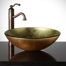 Bathroom Sinks - The rich, Metallic Gold color and smooth, round shape of this glass vessel sink will create a striking focal point for your lavatory. Pair it with the wall mount or deck mount faucet of your choice.--Signature Hardware